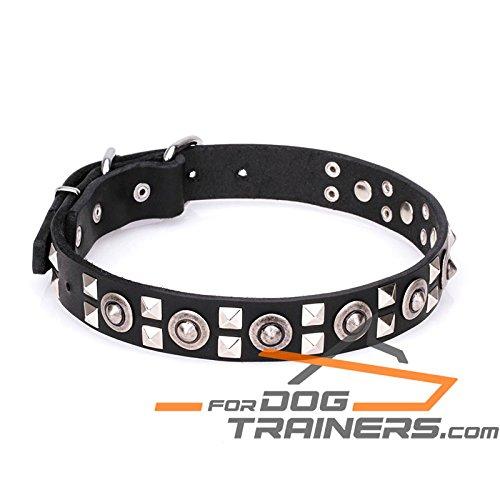 Collare per cani in pelle con acciaio acciaio acciaio cromato Hardware –  Spaceman Style – 1 1 2 inch (40 mm) di larghezza 157282