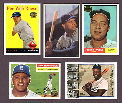 Dodgers (5) Card Heros and Hall of Famer Vintage Baseball REPRINT Lot #54 (Roy Campanella) (Pee Wee Reese) (Johnny...