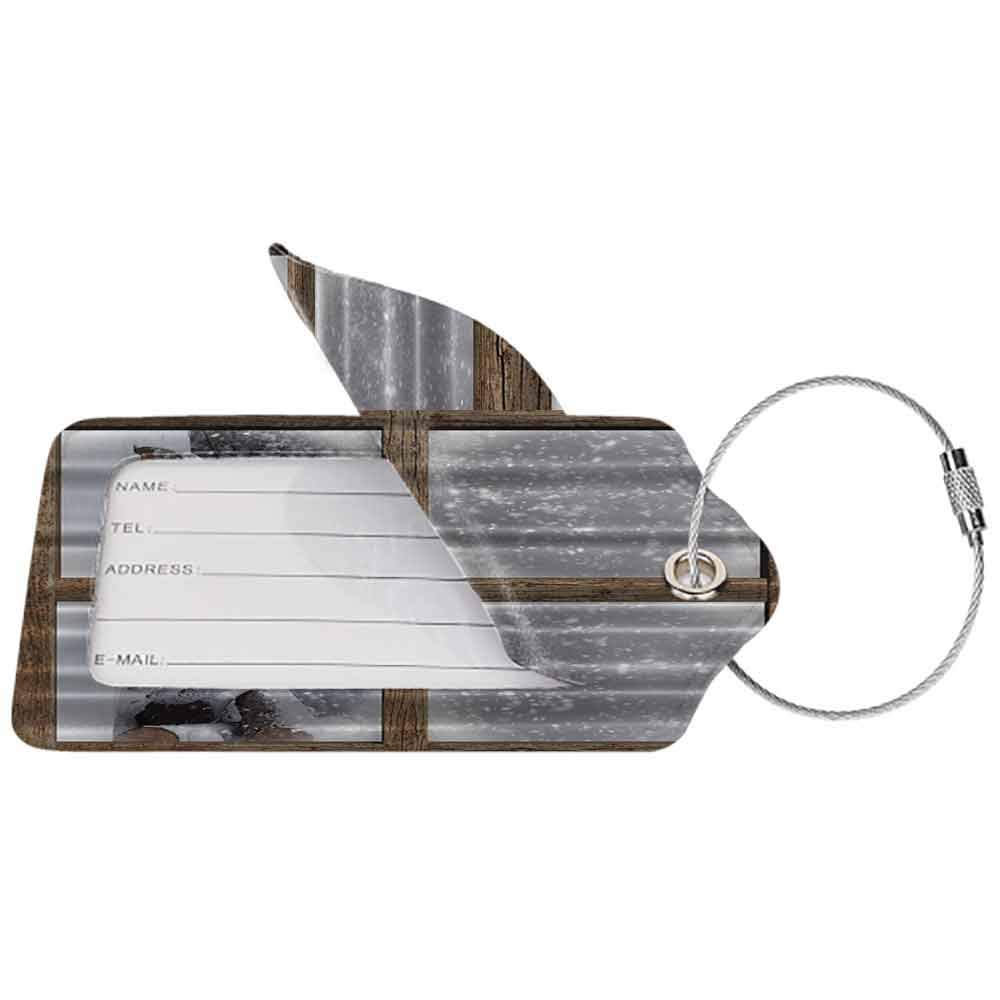 Soft luggage tag Rustic Winter Christmas Snowy Woodsy Wooden Frame Window View Print for Lake and Mountain House Cozy Decor Soft Colors His Bendable White Khaki Gray W2.7 x L4.6
