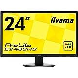 iiyama ホワイトLEDバックライト搭載 24型ワイド液晶ディスプレイ (24inch/1920x1080/D-subx1/DVIx1/HDMIx1) E2483HS-B1