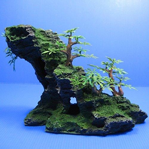 플라스틱 수지제 아쿠아리움 오너먼트 이끼 목식물 이 났 바위산(이와야마)어 의 은신처 동굴