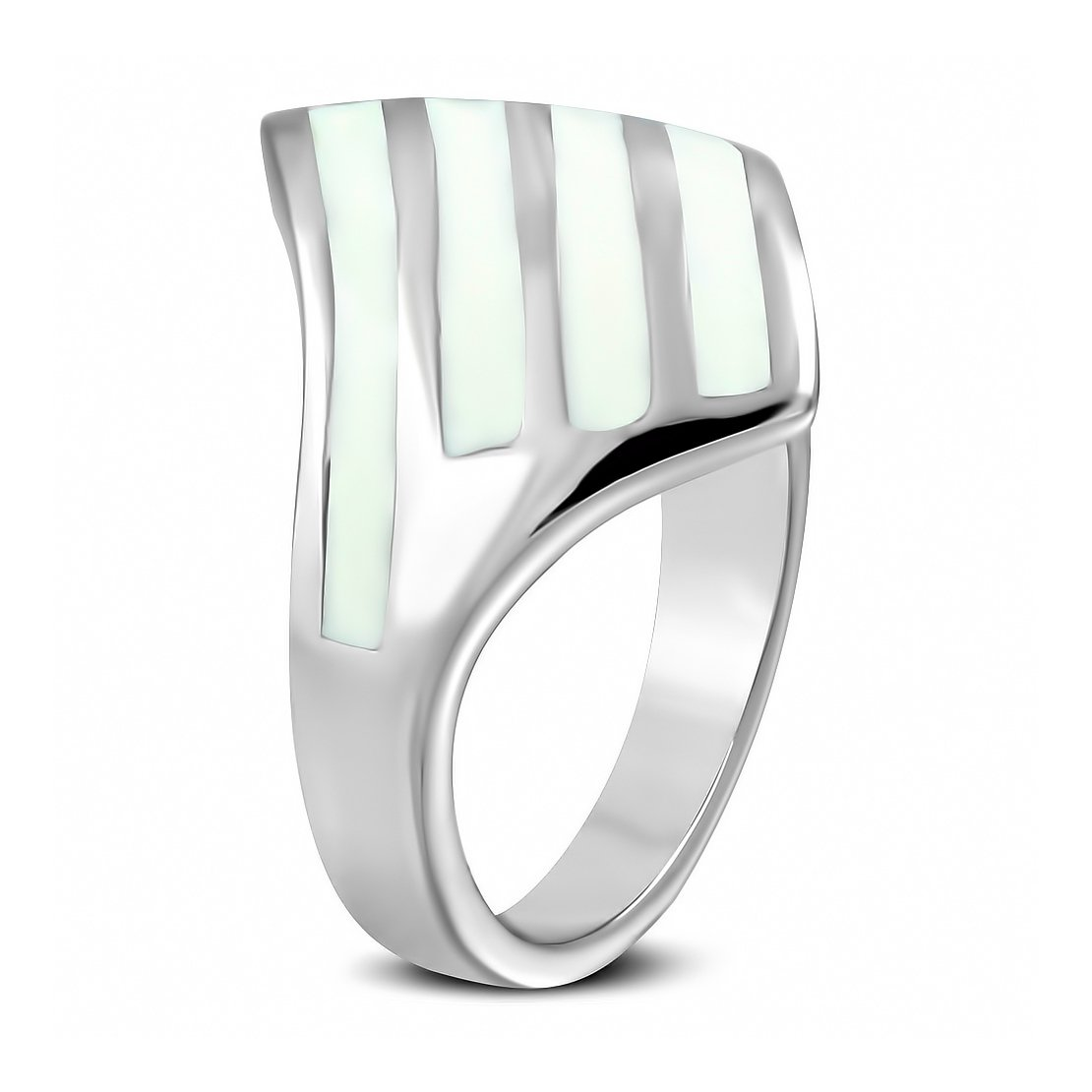 Stainless Steel 2 Color White Enameled Zebra Striped Geometric Triangle Cocktail Ring