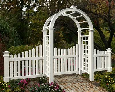 New England Nantucket Deluxe Arbor with Wings and Gate - Arbor With Gate