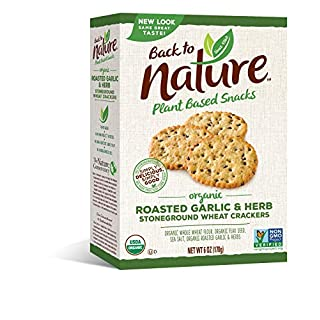 Back to Nature Crackers, Organic Roasted Garlic & Herb, 6 Ounce (Packaging May Vary)