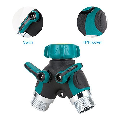 GLANICS 2 Way Hose Splitter, 2 Pcs Y Garden Hose Connector, Faucet y Adapter with Comfortable Rubberized Grip and Washers, Zinc Alloy