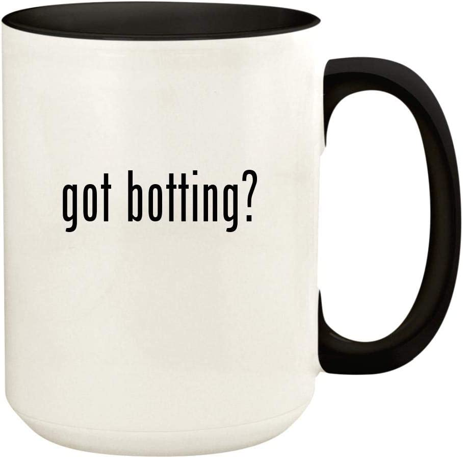 got botting? - 15oz Ceramic Colored Handle and Inside Coffee Mug Cup, Black