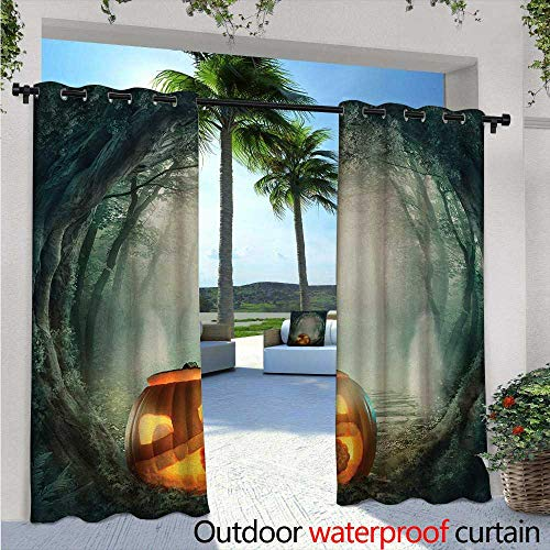 BlountDecor Halloween Outdoor Blackout Curtains W84 x L96 Drawing of Scary Halloween Pumpkin Enchanted Forest Mystic Twilight Party Art Outdoor Privacy Porch Curtains Orange Teal