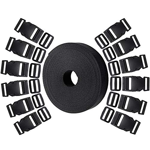 Hysagtek 12 Set Plastic 1 Inch Double Side Release Buckles Clips and 12 Pcs Tri-Glide Slides + 10 Yards Nylon Webbing Strap for DIY Making Luggage Strap, Pet Collar, Backpack - Clips Adjustable