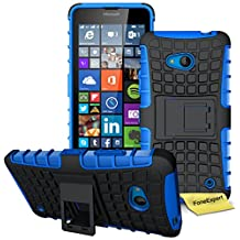 Microsoft Lumia 640 Case, FoneExpert® Heavy Duty Rugged Impact Armor Hybrid Kickstand Protective Cover Case For Microsoft Lumia 640 + Screen Protector & Cloth (Blue)