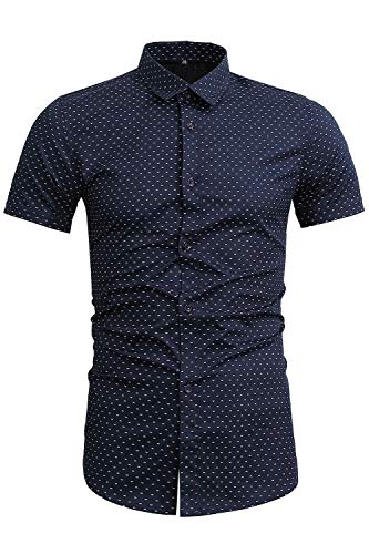 - FLY HAWK Mens Polka Dot Dress Shirts Casual Slim Fit Button Up for Guys Weddings Navy Blue US S