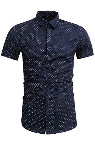 Mens Polka Dot - FLY HAWK Mens Polka Dot Dress Shirts Casual Slim Fit Button Up for Guys Weddings Navy Blue US M