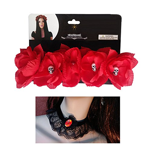 Day of the Dead Flower Headband with Skulls + Lace choker necklace with plastic gemstone (Red)
