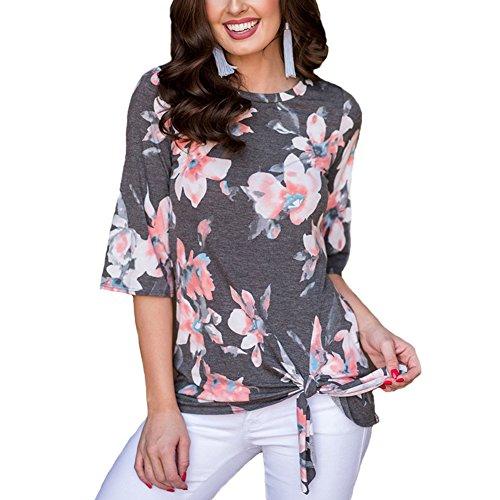 Antopmen Summer Women O Neck Half Sleeve Floral Print T-Shirt Comfy Casual Tops (X-Large, Grey) by Antopmen