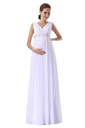 New Sposa Women Pregnant Wedding Dress Long Chiffon Maternity Bridal ...