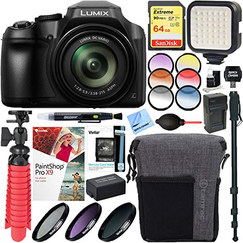 Panasonic DC-FZ80K 4K 18.1MP Point & Shoot Digital Camera + 64GB SD Card & Filter Accessory Bundle