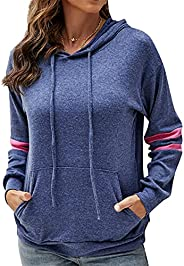 Adnee Womens Sweatshirts Pullover Tops Casual Darwstring Striped Hoodie with Pockets