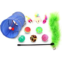 Mumoo Bear Cat Toys Kitten Toys Assortments, Variety Pack for Cat Tunnel, Bell Crinkle Balls, Feather Wand, Cat Teaser…