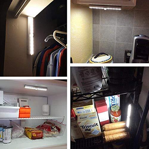 OxyLED Luces de armario con sensor de movimiento, barra de luz USB recargable con banda magnética, 20 LED de luz debajo del gabinete para armario, gabinete, ...