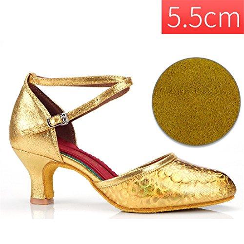 Baile de 5 de Temporadas 5cm Zapatos Femenina de Oro de Interior Baile sociales Oro Zapatos Zapatos Zapatos Modernos WXMDDN Adulto Latino Baile Baile de Zapatos 5cm Bailarines Interior de 5 4WwTI