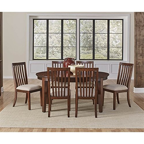 A-America Westlake 7 Piece Oval Extendable Dining Set in Cherry Brown