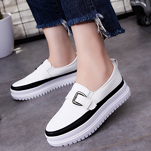 T-JULY Women Low Heel Thick Bottom Slip On Casual Moccasins Synthetic Flats Comfort Loafer Shoes