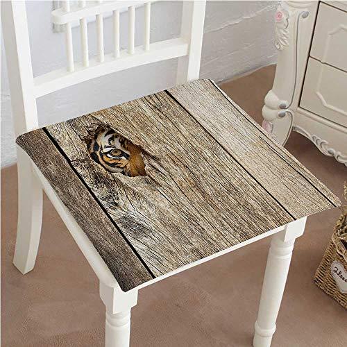 (Chair Pads Classic Design Tiger Eye Looking Through Wooden Peep Hole in Spy PredatorCat Wild Theme Cotton Canvas Futon 32