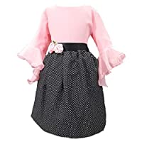 Je T'Aime Mumum's Pink and Black Polka Printed Dress for 1-17 Year Girls