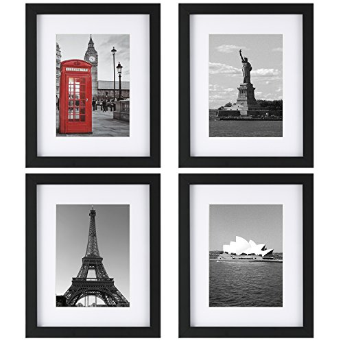 ONE WALL Tempered Glass 8x10 Picture Frame Set of 4 with Mats for 5x7, 4x6 Photo, Black Wood Frame for Wall and Tabletop - Mounting Hardware - Wall 10 Border