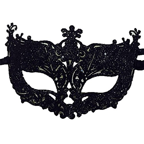 Women Secy Lace Mask Cosplay Eye Mask Carnival Fancy Mardi Hollow Out Halloween Evening Party Prom Masquerade Mask for Halloween Retro Cover Cosplay Headdress (Black)