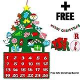 Pepyi DIY Felt Christmas Tree Advent Calendar with Merry Christmas Felt Banner (Countdown to Christmas)