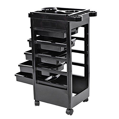 Salon Trolley, Hair Salon Instrument Storage Cart Adjustable Height Trolley Beauty Tools with 5 Drawers