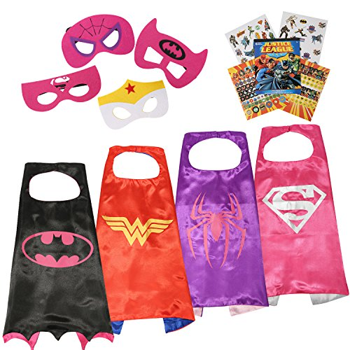 Justice League Superhero Cape and Mask Costumes Set - Stickers ~ 295 Reward Stickers (Gril) (Batman Costume Sydney)