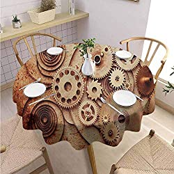 DILITECK Vintage Summer Round Tablecloth Mechanical Clocks Details Old Rusty Look Backdrop Gears Steampunk Design Jacquard Tablecloth Diameter 50 Dark Orange Beige
