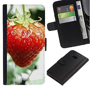 Paccase / Billetera de Cuero Caso del tirón Titular de la tarjeta Carcasa Funda para - Fruit Macro Wet Strawberry - HTC One M8