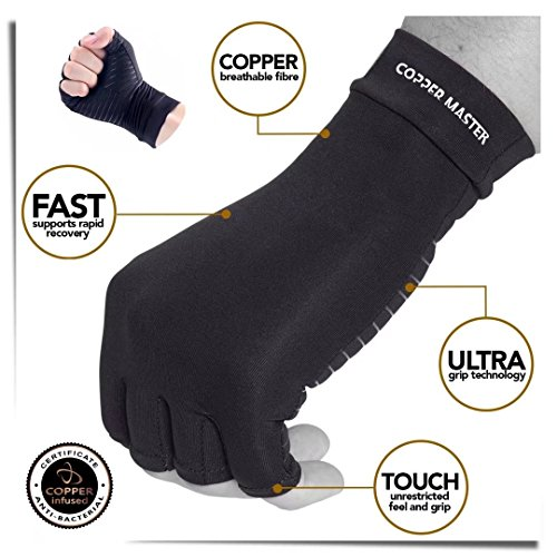 Arthritis Gloves Women- Copper Gloves For Men- Compression Gloves Recovery & Relieve For Arthritis, RSI, Carpal Tunnel, Swollen Hands, Tendonitis, Everyday Support & More- Fingerless Gloves/ Black/ L by Highcamp (Image #2)