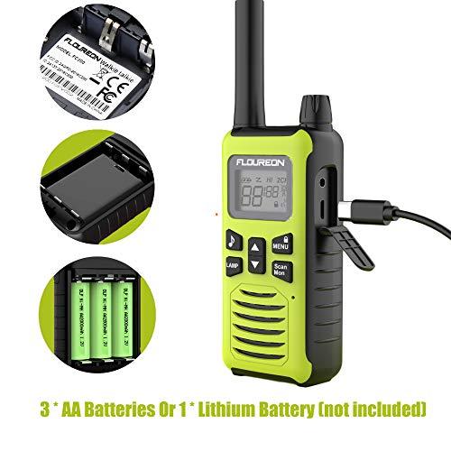 FLOUREON 4 Packs Walkie Talkies Two Way Radios 22 Channel 3000M (MAX 5000M Open Field) Long Range Handheld Talkies Talky (Yellow) by floureon (Image #1)
