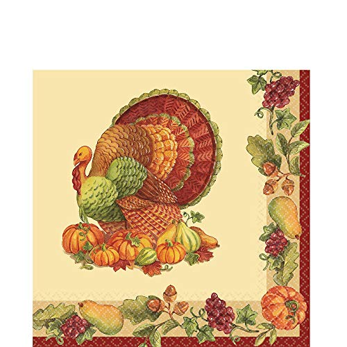 Joyful Thanksgiving Multicolored Paper Luncheon Napkins, 125 Ct. | Party Tableware -
