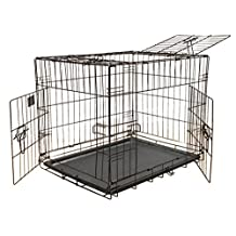 Go Pet Club TD-24 24-Inch 3-Door Metal Dog Crate with Divider