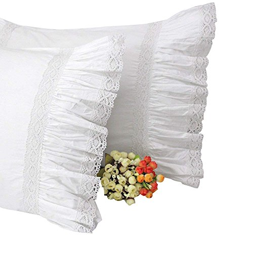 Lace Standard Pillowcase (Queen's House 2-Piece Cotton Lace Pillow Cover Shams White Standard Queen-Style M)