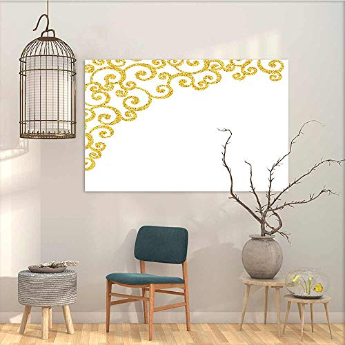 Art Original Oil Painting Sticker Gold and White Side Frame of Floral Ivy Round Swirl Antique Victorian Details Artwork On Canvas Abstract Artwork Yellow and White W47 xL31