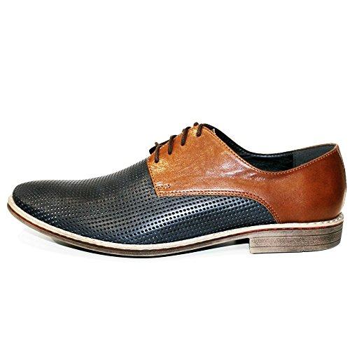 PeppeShoes Modello Mareto - Handmade Italiano da Uomo in Pelle Nero Scarpe da Sera - Vacchetta Pelle in Rilievo - Allacciare