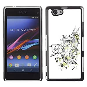 YOYO Slim PC / Aluminium Case Cover Armor Shell Portection //Cool Funny Majestic Dragon Creature //Sony Xperia Z1 Compact