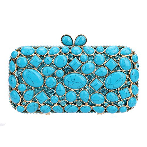 - Fawziya Turquoise Wedding Clutch Bags And Purses For Women Handbags-Lake Blue