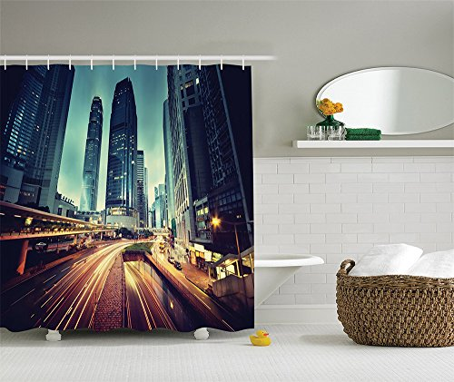 [City Decor Collection Cityscape Picture of Traffic in Hong Kong at Sunset Print Polyester Fabric Bathroom Shower Curtain Set with Hooks Navy Blue Black] (Nerd Costumes At Party City)