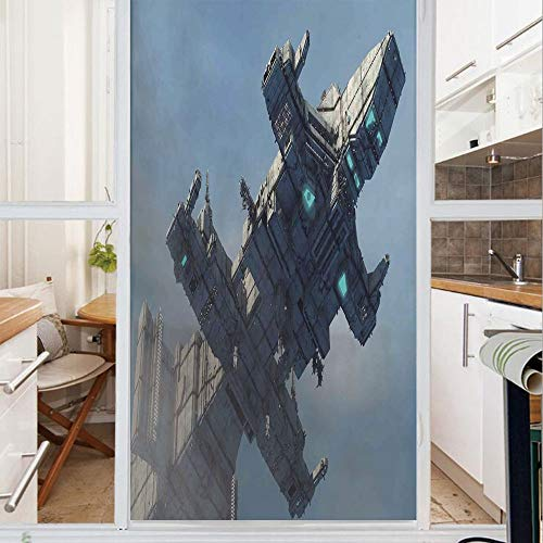 Decorative Window Film,No Glue Frosted Privacy Film,Stained Glass Door Film,Photo of Huge Military Ship in The Air Solar Planetary Cosmos Vehicle,for Home & Office,23.6In. by 59In Grey Blue
