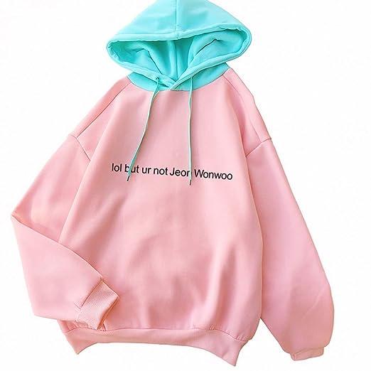 ZJSWCP Sudadera LOL Pero ur no Jeon Wonwoo Hechizo de Moda Color Harajuku Rosa Pullover Espesar Mujeres Sueltas Sudaderas con Capucha Mujer Casual: ...
