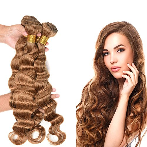 Wome Hair 8A Grade Bazilian Virgin Loose Deep Wave Hair Extensions Weave 3 Bundles Honey Blonde Color Thick(12