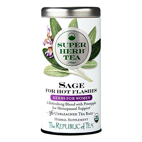 The Republic Of Tea Organic Sage SuperHerb Herbal Tea For Hot Flashes, 36 Tea Bag Tin