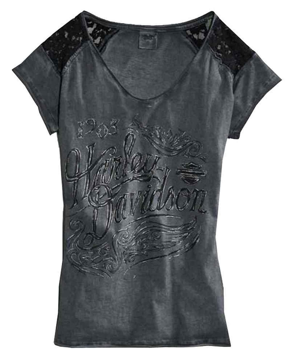 Harley-Davidson Women's V-Neck Short Sleeve Tee, Lace Accent, Gray 96070-16VW