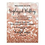 Andaz Press Wedding Party Signs, Glitzy Rose Gold Glitter, 8.5x11-inch, Welcome to Our Unplugged Ceremony Turn Off Phones No Devices Sign, 1-Pack, Bokeh Colored Party Supplies